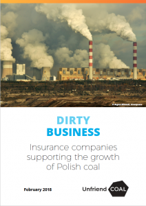 report cover for Dirty Business report, Unfriend Coal
